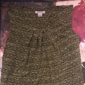 Liz Claiborne Green and Black Patterned Blouse